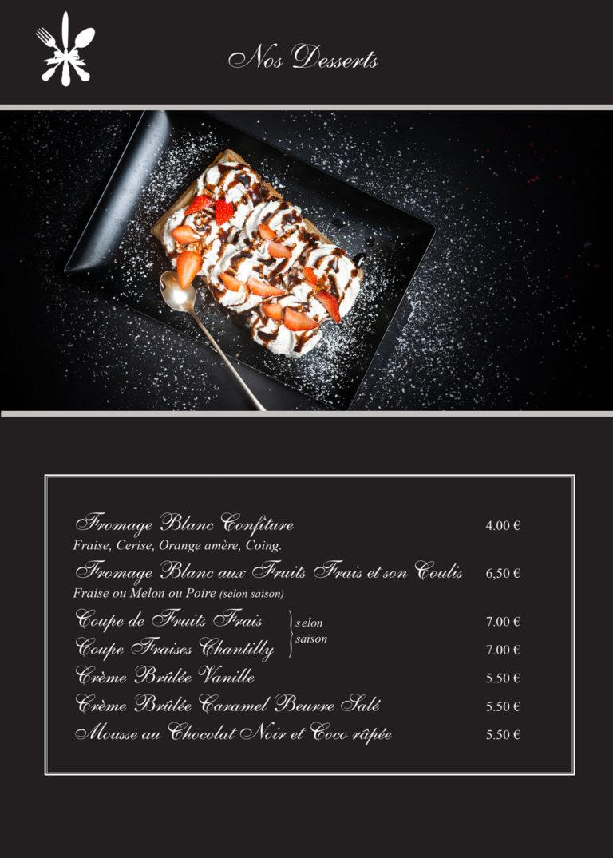 carte dessert restaurant les charmilles